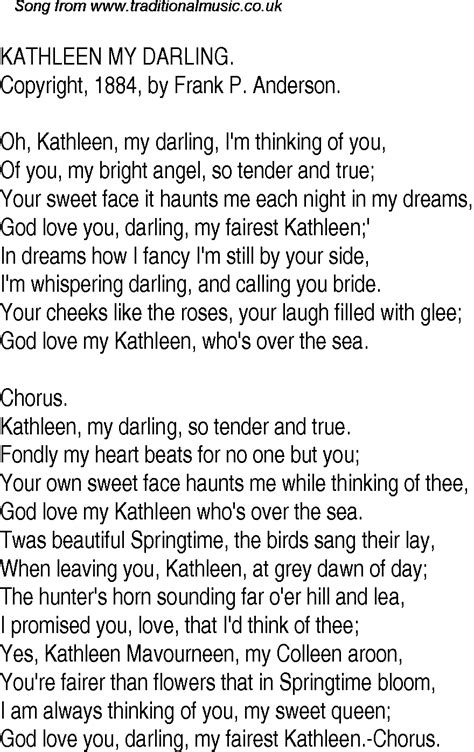 Old Time Song Lyrics for 18 Kathleen My Darling