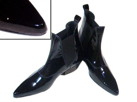 new black patent leather cuban heel chelsea beat boot