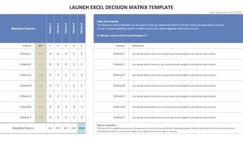 decision matrix template free decision matrix page launch excel