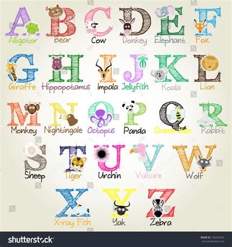 alphabet with animals stock vector animal alphabet vector illustration eps10 stock vector