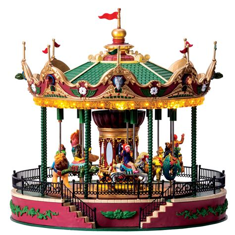 lemax christmas villages lemax collection carnival equestrian carousel with 4 5v adaptor