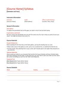 College Syllabus Template by Syllabus Office Templates