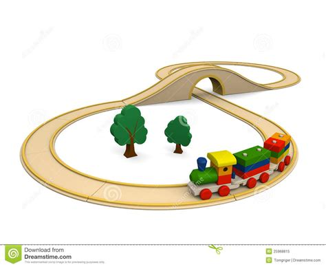 wooden toy train  track stock illustration