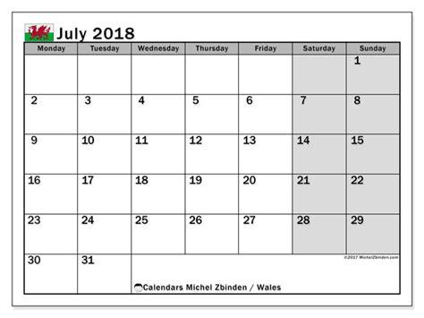 United Kingdom Uk Kalender 2018 Calendar July 2018 Wales