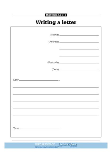 Formal Letter Ks2 Template Writing A Letter Free Primary Ks1 Teaching Resource Scholastic