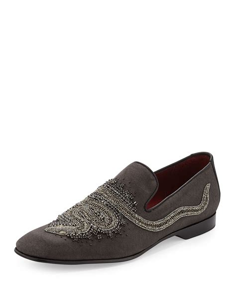 donald j pliner mens loafers donald j pliner pasco karigar beaded canvas loafer in gray