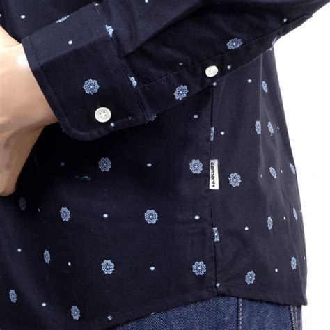 Printed Sleeve Slim Fit Shirt printed navy blue slim fit shirts for by carhartt