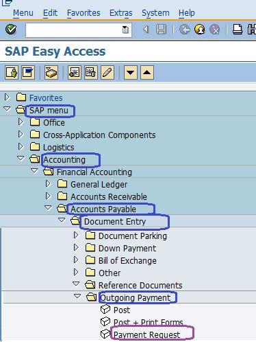 vendor payment request sap menu path | f 59 sap sap