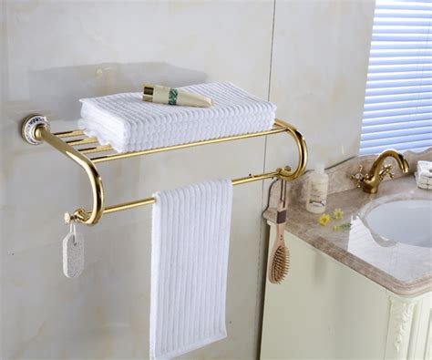 Wall Towel Holders Bathrooms by Modern Golden Finished Brass Wall Mounted Bathroom Towel