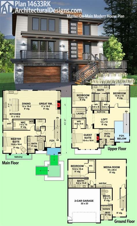 two master suites 59638nd architectural designs architectural designs modern house plan 14633rk gives you