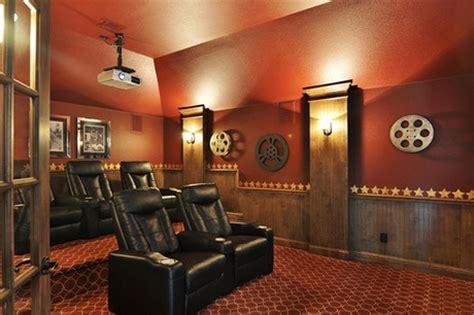 wainscoting and panels with wall sconces media room by