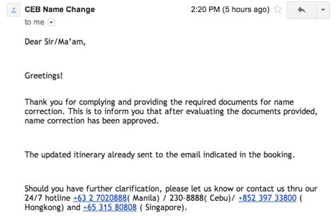 Confirmation Letter For Name Change Steps For Name Correction Of Cebupacificair Itinerary