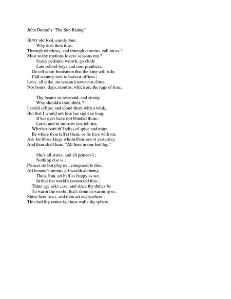 The Sun Rising Donne Essay by One Of My Favorite Poems Of All Time Quot The Sun Rising Quot Donne Favourite Poems Poets