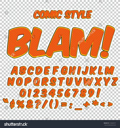 font pop art creative high detail comic font alphabet in the style of