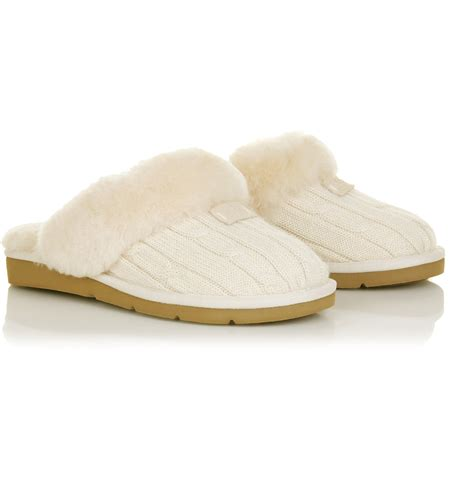 cosy knit ugg slippers ugg cozy knit slippers in white lyst