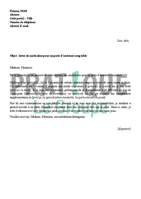 Exemple Lettre De Motivation Comptable Lettre De Motivation Pour Devenir Assistant Comptable Pratique Fr
