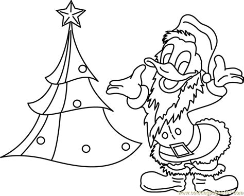 santa duck coloring page donald duck with xmas tree coloring page free christmas