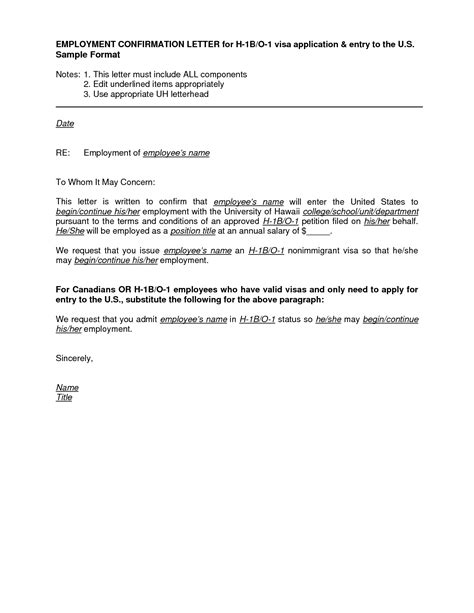 employment letter visa application sle employment