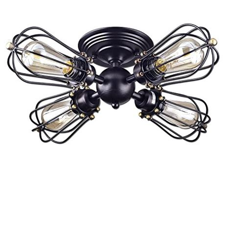 bronze semi flush ceiling light yobo lighting rubbed bronze wire cage vintage 4 lights