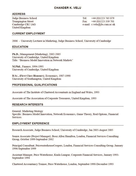 Cambridge Mba Cv Template by Lecturer In Marketing Position Resume Sle