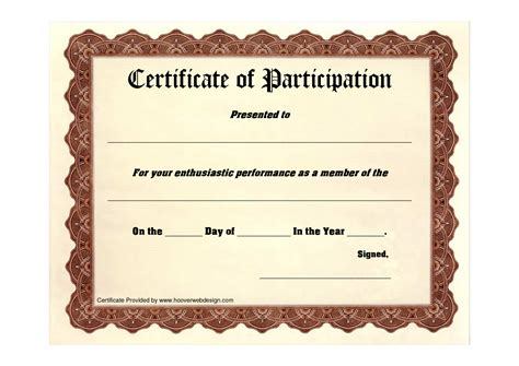 participation certificate template best photos of printable certificates of participation