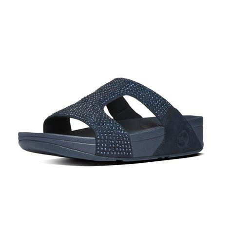 slide in sandals fitflop rokkit slide sandals supernavy suede