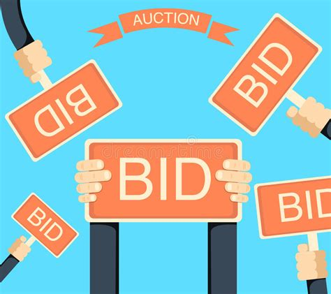 bid auction auction and bidding banner with holding bords stock