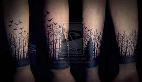 forearm forest tattoo black flying birds and forest on arm by mariedamn