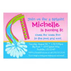 swimming pool pink water slide birthday 5x7 paper invitation card zazzle