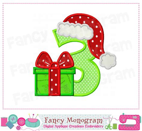 christmas number 3 applique3birthday number 3