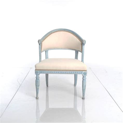 pair of blue painted late gustavian tub armchairs for sale