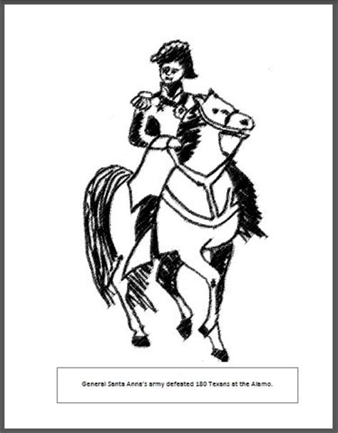 santa anna coloring page the alamo free coloring pages and free coloring on pinterest