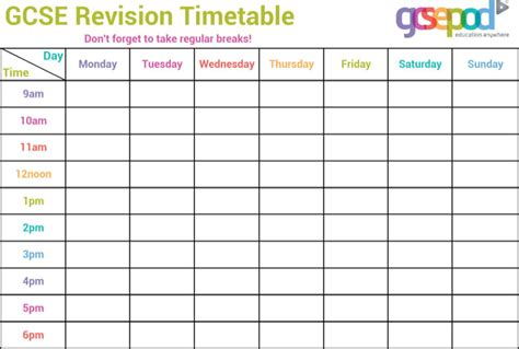 Revision Timetable Template gcse revision timetable template for free tidyform