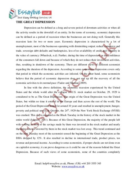 Essay On Depression by Great Depression Essay Sle