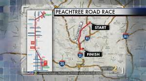 peachtree map thousands run ajc road race despite weather www