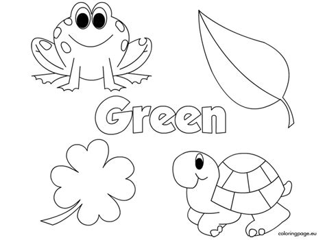 Green Coloring Page the color green coloring page