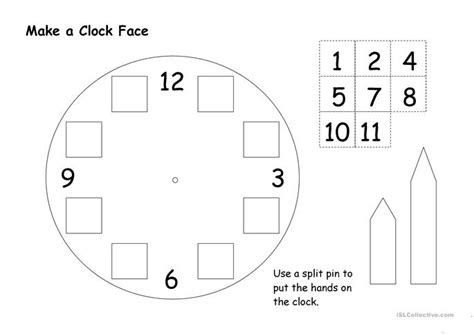 make a clock face worksheet free esl printable