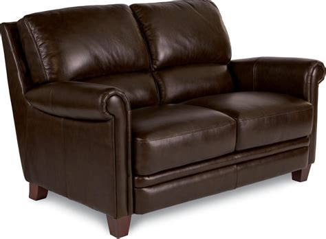 la z boy sofas and loveseats julius leather loveseat with bustle back and rolled arms