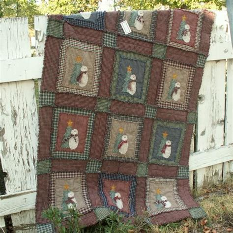 Snowman Rag Quilt Pattern by Ragged Shabby Snowman Quilt Pattern Sewing