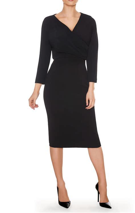 pencil dress black work dress faux wrap v neck with