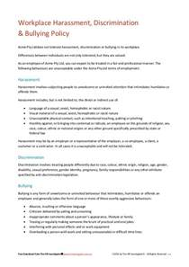 Sexual Harassment Policy Template by Workplace Harassment Discrimination Bullying Policy