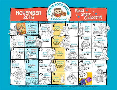 Calendar Book 2016 Picture Book Month Chions Announced