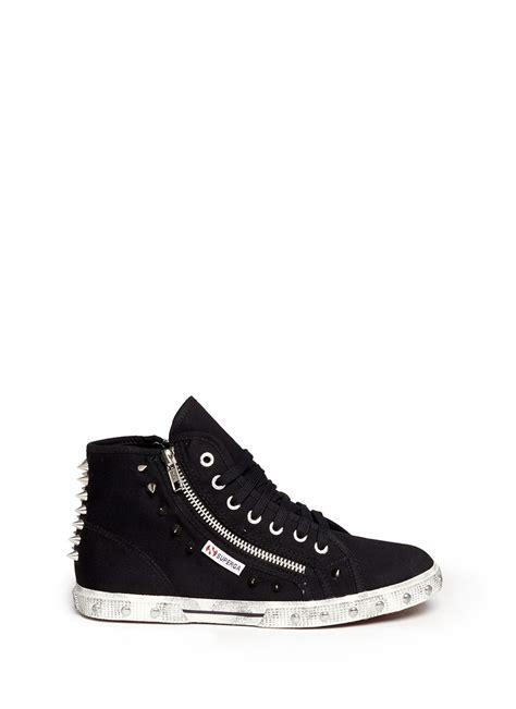 spiked sneakers superga spiked studs hightop sneakers in black lyst