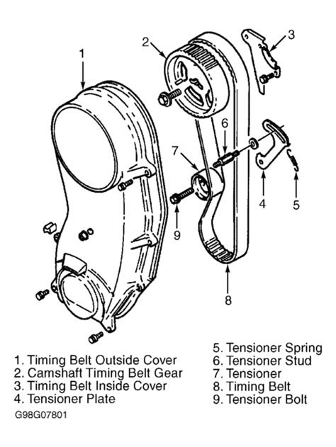 timing belt / tensioner exploded view | Suzuki samurai