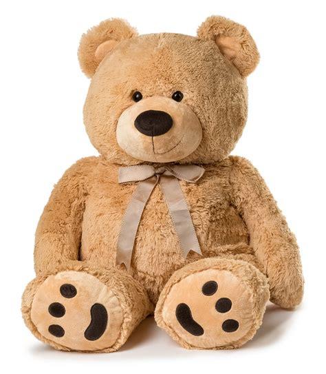 huge teddy bear with ribbon tan