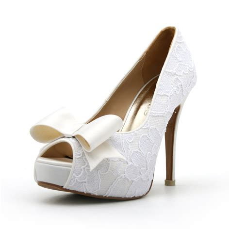 White Wedding Shoes by Lace White Wedding Shoe With Bow Peep Toe Lace By