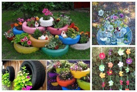 objetos para decorar jardines jardines con material reciclado decoracion de articulos