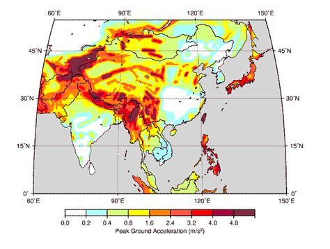 earthquake hazard map seismic hazard map of asia from the global seismic hazard
