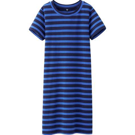 uniqlo blue cotton dress uniqlo cotton modal striped sleeve dress in