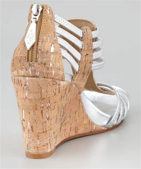 silver cork wedge sandals donald j pliner ginnie metallic stretch cork wedge sandal